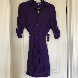 NWT - Express Portofino Deep Purple Button Dress